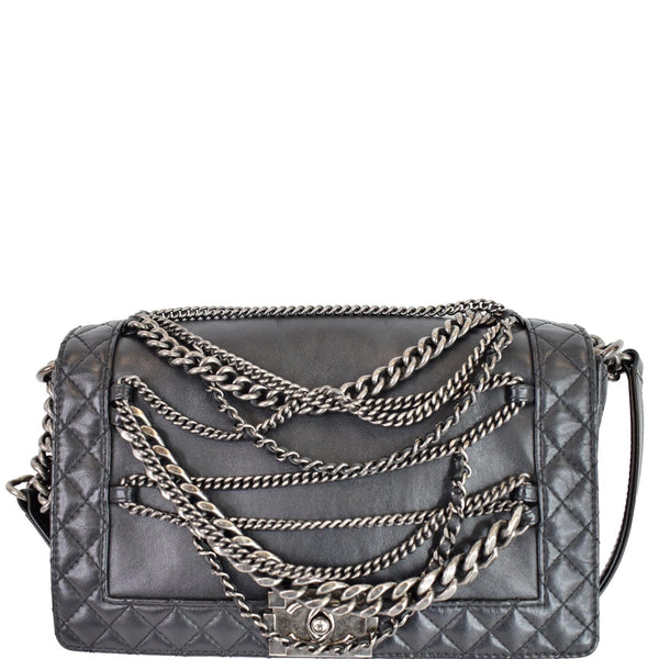 Chanel Boy Enchained Medium Calfskin Leather Flap Bag