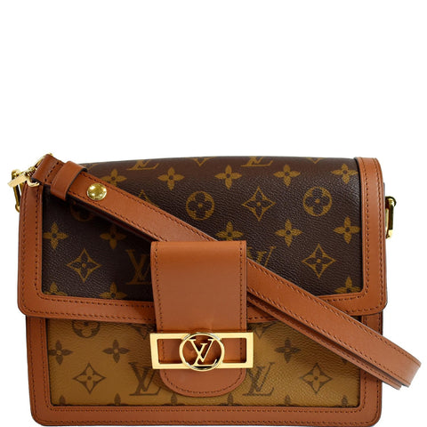 LOUIS VUITTON Mini Dauphine Monogram Reverse Canvas Shoulder Bag Brown