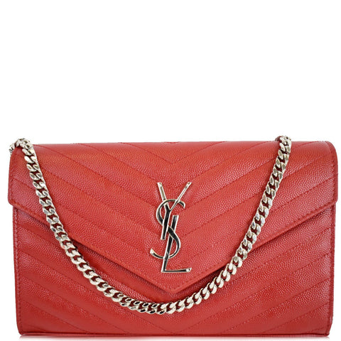 YVES SAINT LAURENT Matelasse Chevron Leather Envelope Chain Wallet Red