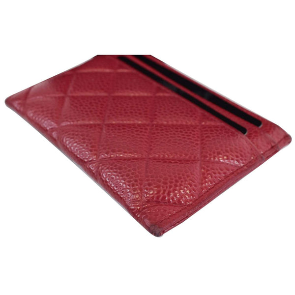Chanel CC Card Holder Caviar Leather Case corner view