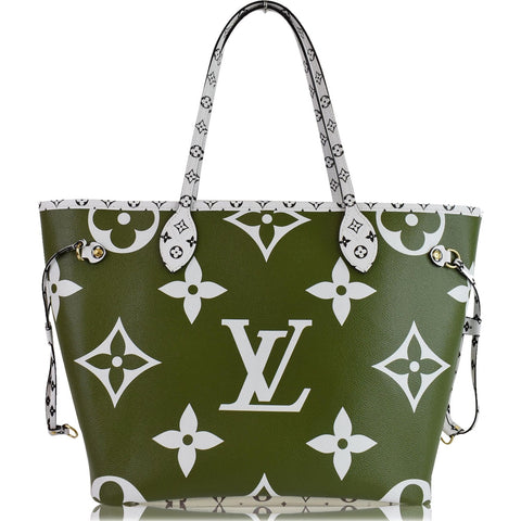 LOUIS VUITTON Giant Neverfull MM Monogram Canvas Shoulder Bag Olive