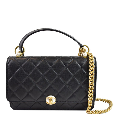 CHANEL Pearl Wallet On Chain Leather Crossbody Bag Black