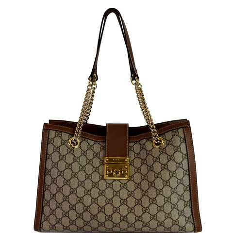 GUCCI Padlock Medium GG Supreme Canvas Shoulder Bag Beige 479197