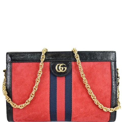 GUCCI Ophidia GG Small Web Suede Leather Shoulder Bag Red 503877