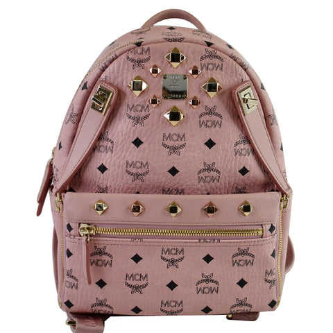 MCM Small Dual Stark Visetos Coated Canvas Backpack Bag Soft Pink