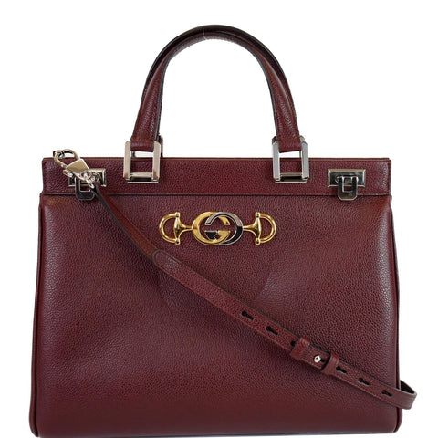 GUCCI Zumi Medium Grainy Leather Top Handle Bag Burgundy 564714
