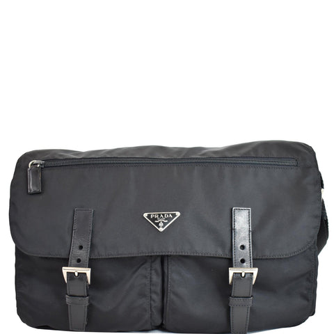 PRADA Vela Nylon Messenger Bag Black