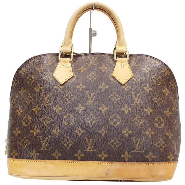 Louis Vuitton Alma Monogram Canvas Satchel Bag Brown - front view