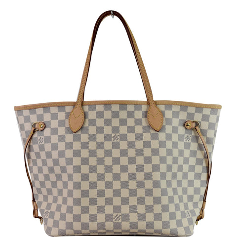 LOUIS VUITTON Neverfull MM Damier Azur Tote Shoulder Bag Rose Ballerine