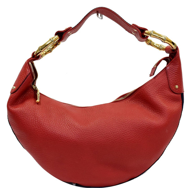 GUCCI Pebbled Leather Bamboo Ring Hobo Bag Red 131036