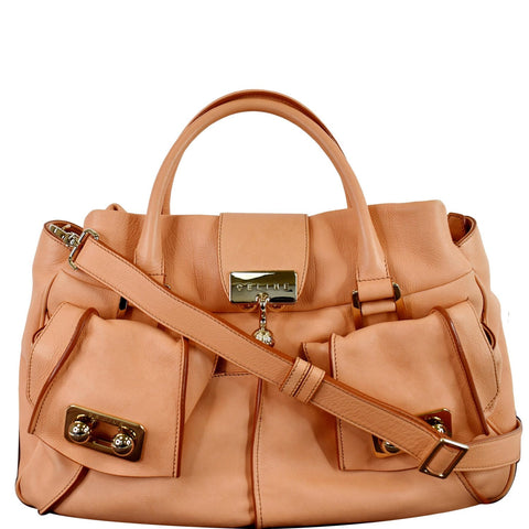 CELINE Blossom Leather Top Handle Tote Bag Peach