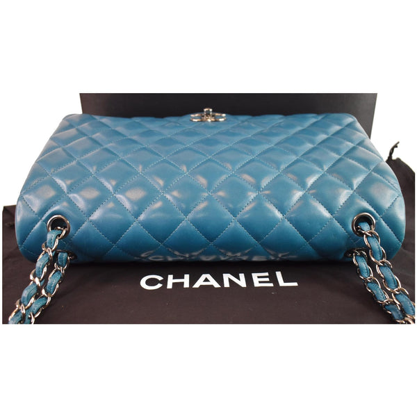 CHANEL Maxi Double Flap Calfskin Leather Shoulder Bag Turquoise