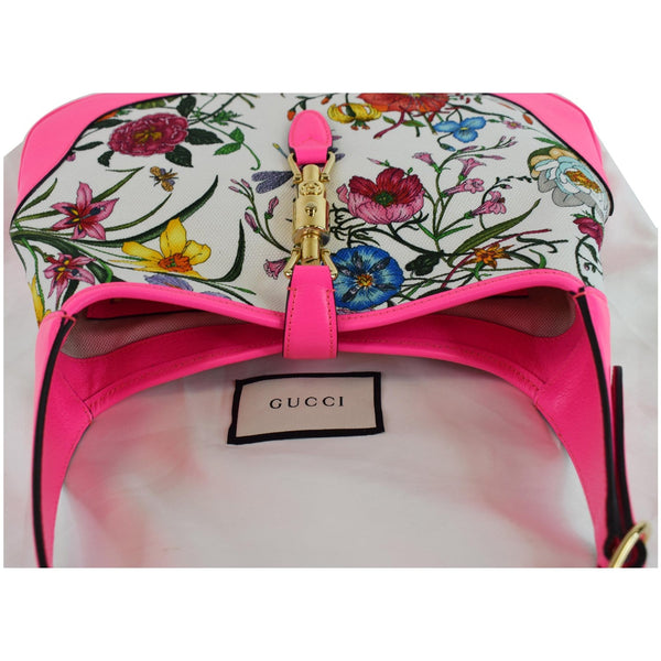 GUCCI Flora Jackie Medium Canvas Hobo Bag Pink 550152