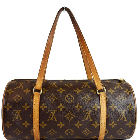 LOUIS VUITTON Papillon 30 Monogram Canvas Satchel Bag Brown