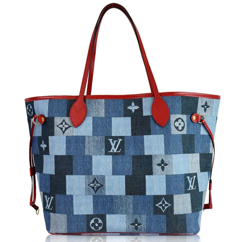LOUIS VUITTON Neverfull MM Patchwork Monogram Denim Shoulder Bag Blue