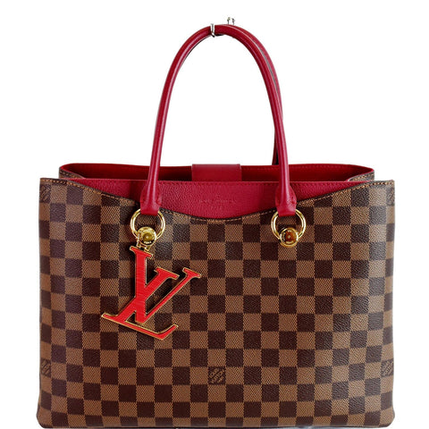 LOUIS VUITTON LV Riverside Damier Ebene Shoulder Bag Red