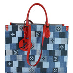 LOUIS VUITTON Onthego GM Autres Toiles Monogram Denim Shoulder Bag Blue/Red
