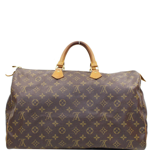 LOUIS VUITTON Speedy 40 Monogram Canvas Satchel Bag Brown