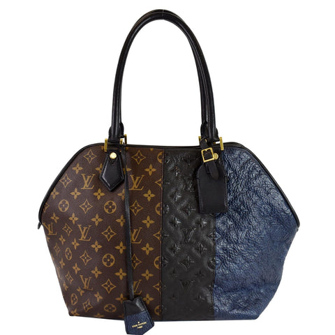 LOUIS VUITTON Blocks Stripes Monogram Leather Tote Bag Tri-Color