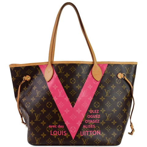 LOUIS VUITTON V Neverfull MM Monogram Canvas Shoulder Bag Brown