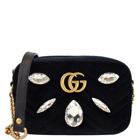 GUCCI GG Marmont Mini Marquise Crystal Velvet Crossbody Bag 448065