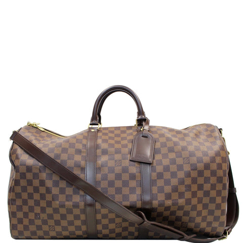 LOUIS VUITTON Keepall Bandouliere 55 Damier Ebene Travel Bag Brown