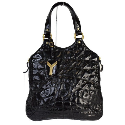 YVES SAINT LAURENT Tribute Embossed Patent Leather Tote Bag Black