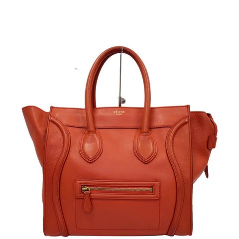 CELINE Drummed Mini Luggage Calfskin Leather Tote Bag Red
