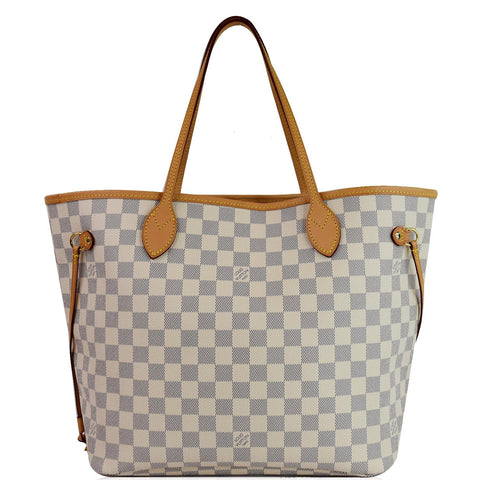 LOUIS VUITTON Neverfull MM Damier Azur Shoulder Bag White