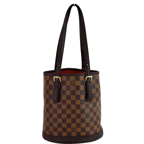 LOUIS VUITTON Marais Bucket Damier Ebene Shoulder Bag Brown
