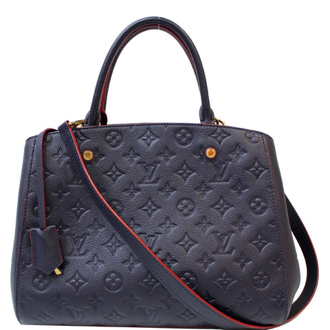 LOUIS VUITTON Montaigne MM Monogram Empreinte Shoulder Bag Blue