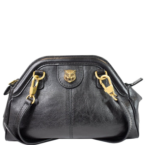 GUCCI GG Re(Belle) Tiger Head Leather Crossbody Bag Black 524620