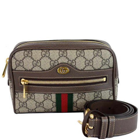 GUCCI Ophidia Small GG Supreme Canvas Web Belt Bag Brown 517076