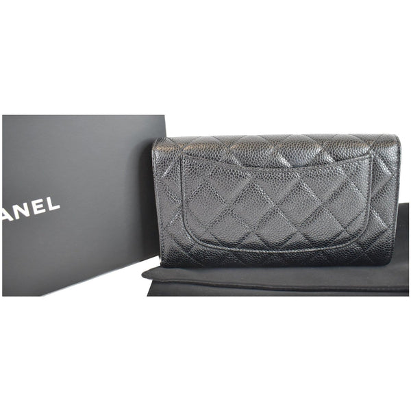 Chanel Large Flap Quilted Caviar Leather Wallet Pouch