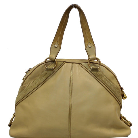 YVES SAINT LAURENT Muse Leather Dome Satchel Bag Tan