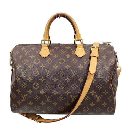 LOUIS VUITTON Speedy 35 Bandouliere Monogram Canvas Shoulder Bag Brown