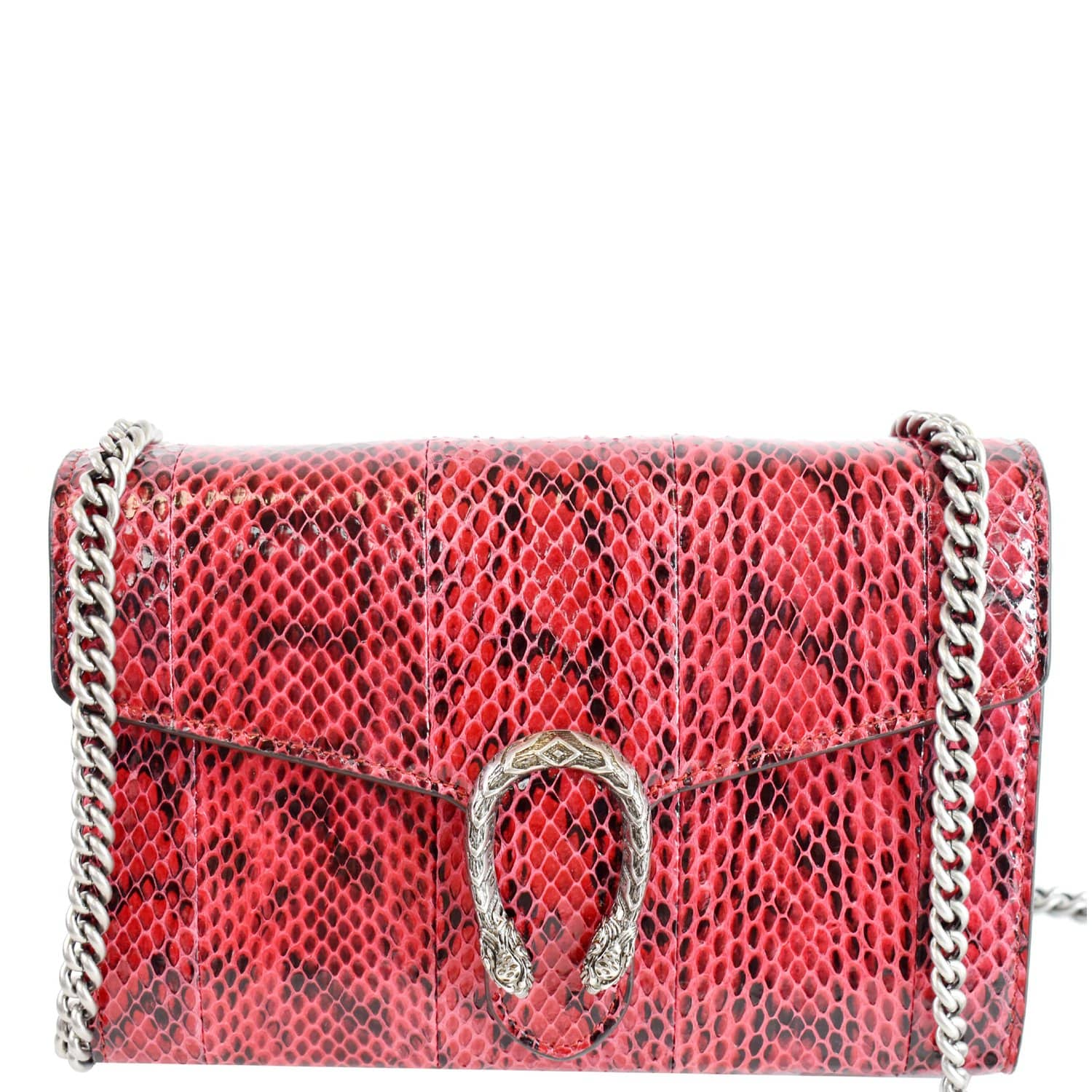GUCCI Dionysus Mini Python Leather Crossbody Chain Wallet Red 401231