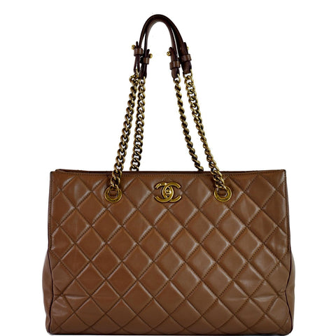 CHANEL Quilted Leather Perfect Edge Shopper Tote Brown