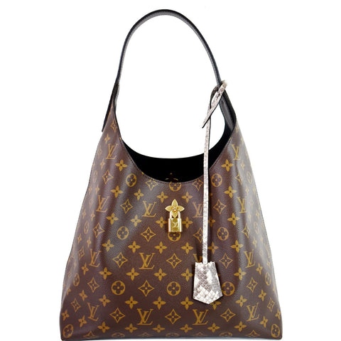 LOUIS VUITTON Flower Monogram Canvas Shoulder Hobo Bag Brown