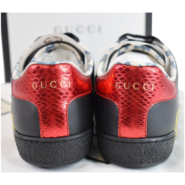 GUCCI Web Ace Guccy Leather Sneakers Black 525268 US 7