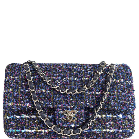 CHANEL Classic Double Flap Tweed Fabric Shoulder Bag Multicolor