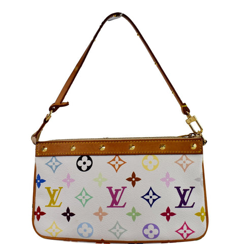 LOUIS VUITTON Pochette Accessories Multicolor Monogram Pouch White