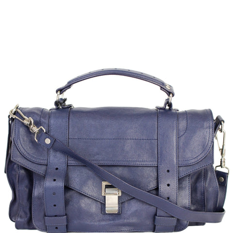 PROENZA SCHOULER Medium PS1 Leather Satchel Shoulder Bag Navy