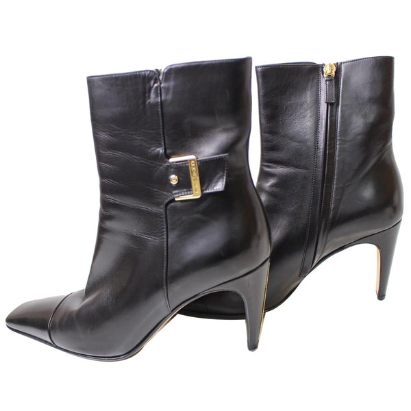 Chanel Ankle Leather Zip Boots - Size US 9.5