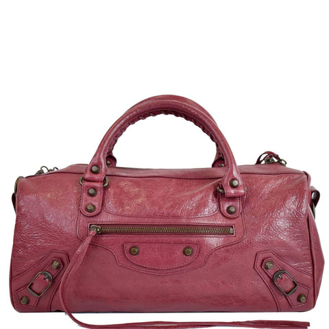 BALENCIAGA Twiggy Leather Satchel Shoulder Handbag Pink