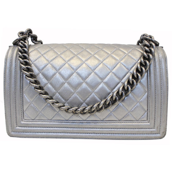 CHANEL Boy Medium Lambskin Leather Embroidered Shoulder Bag Silver-US