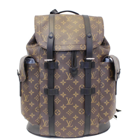 LOUIS VUITTON Christopher PM Monogram Macassar Canvas Backpack Bag Brown