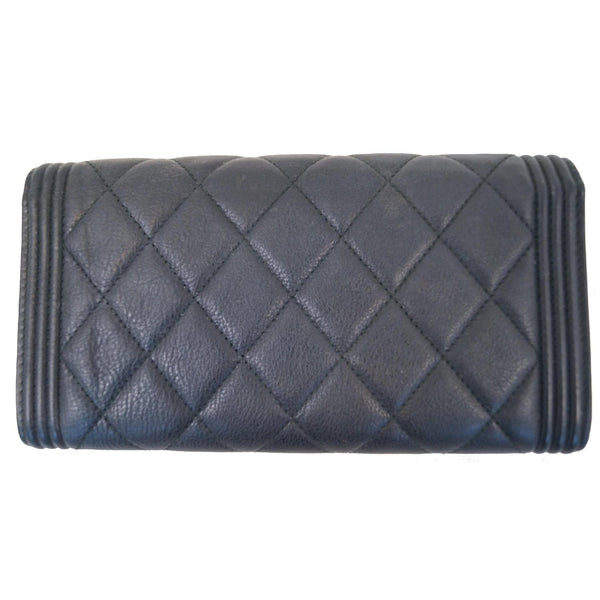Chanel Boy Large Flap Lambskin Leather Wallet Black back view