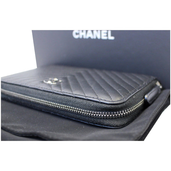 Chanel Wallet Lambskin Chevron Quilted Zip - side view