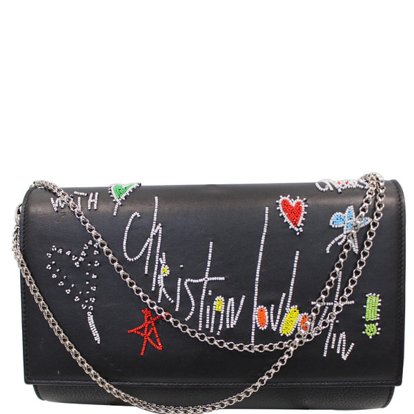 CHRISTIAN LOUBOUTIN Paloma Loubitag Leather Chain Clutch Bag Black